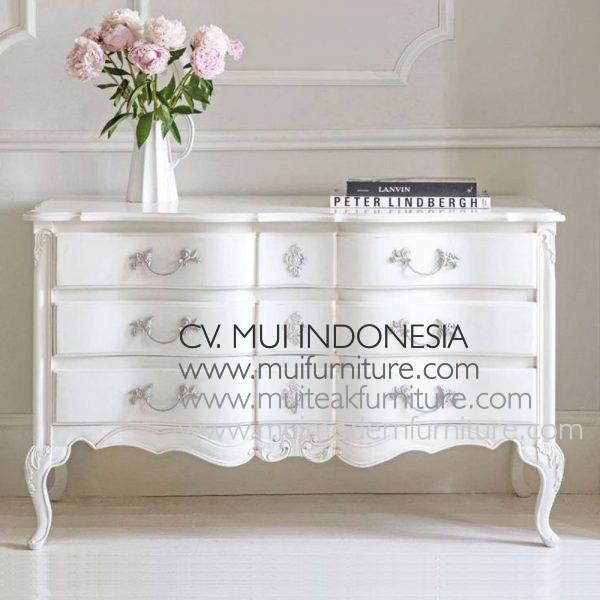 Antique White French Chest 6Drawers