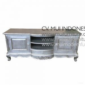 Baroque TV Stand Antique Silver, Size 160W x 50D x 52H cm