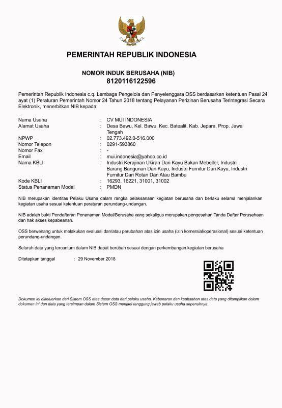 Certificate MUI Furniture