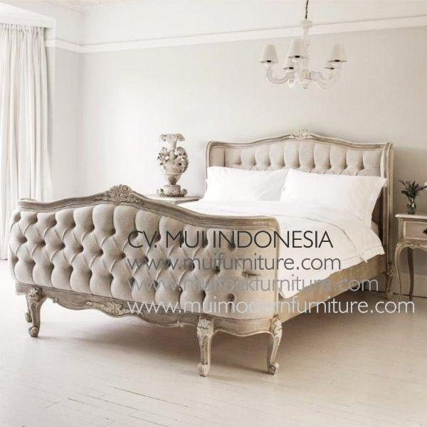 French Bed Grey washed, Size Queen