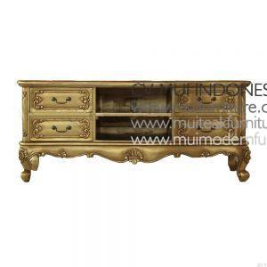 French TV Stand Antique Gold, Size 160W x 50D x 52H cm