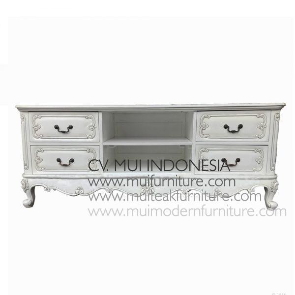 French TV Stand Antique White, Size 160W x 50D x 52H cm