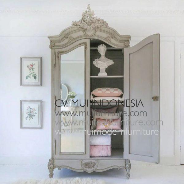 Grey antique Mirror Armoire, Size W120 x D60 x H230cm