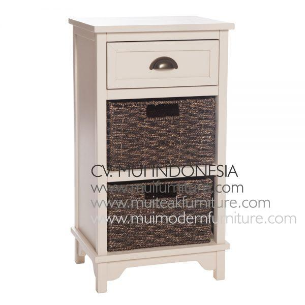 White Antique french-style 3 Drawer, 40W x 35D x 70H cm