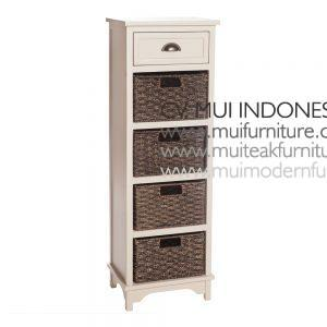White Antique french-style 5 Drawer, 40W x 35D x 120H cm