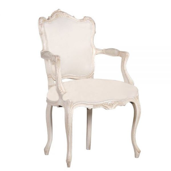 Antique Distressed White Upholstered Arm chair