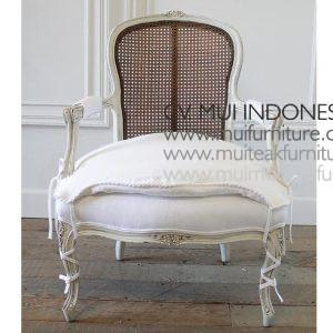 CENTURY FRENCH STYLE CANE BACK ARM CHAIR