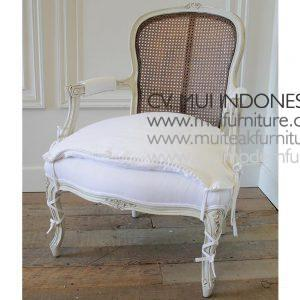 CENTURY FRENCH STYLE CANE BACK ARM CHAIR H 93.98 cm x W 71.12 cm x D 69.85 cm