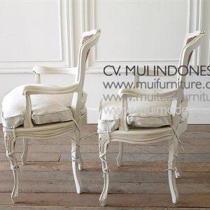 PAIR OF PAINTED CANE BACK OPEN ARM CHAIRS