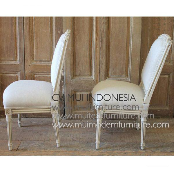 CENTURY PAIR OF PAINTED AND UPHOLSTERED LOUIS XVI