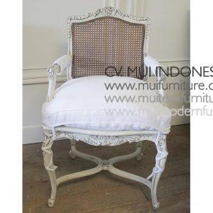 French Arm Chair 19th Rattan, 60W x 55D x 95H cm