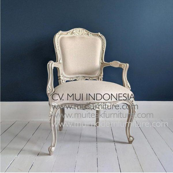 French Arm Chair in Fawn Grey
