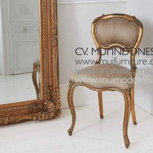 Gold Gilt French Chair with Beige SilkW45 x D43 x H85cm