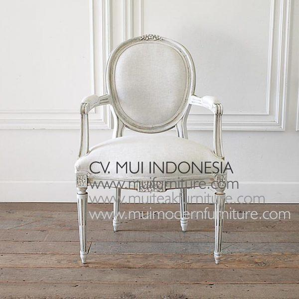 LOUIS XVI STYLE CARVED AND PAINTED RIBBON ARM CHAIR H 97.79 cm x W 63.5 cm x D 64.77 cm