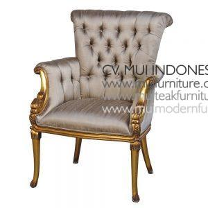 French Gold Chair With Button Upholstery H100 x W74 x D80cm